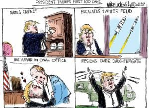 A roundup of funny and provocative cartoons about Donald Trump and his presidential campaign.: President Trump's First 100 Days