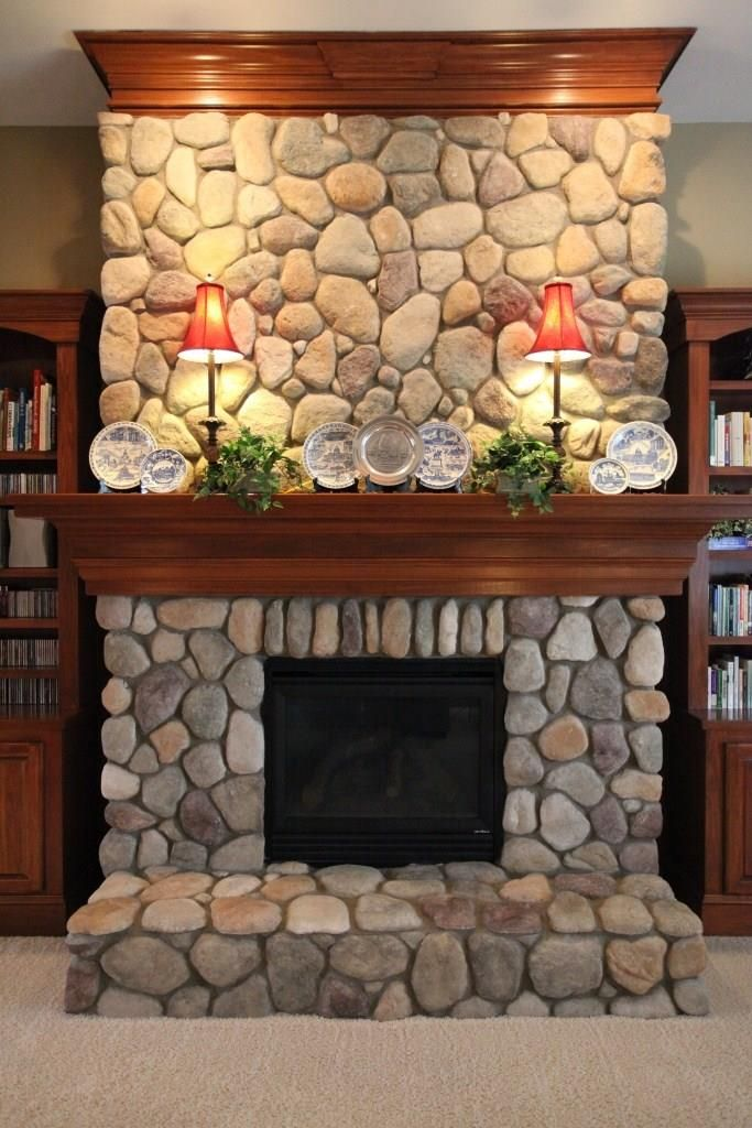 fireplace river rock built ins - Google Search