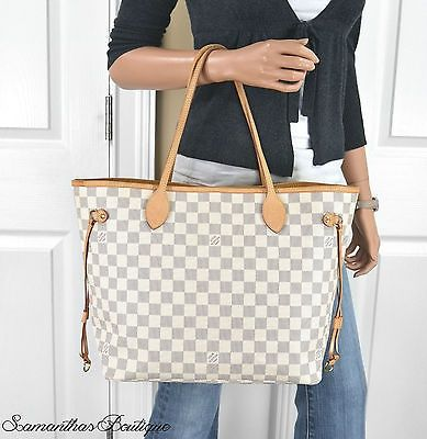 cool LOUIS VUITTON NEVERFULL MM DAMIER AZUR LEATHER TOTE BAG HANDBAG PURSE - For Sale