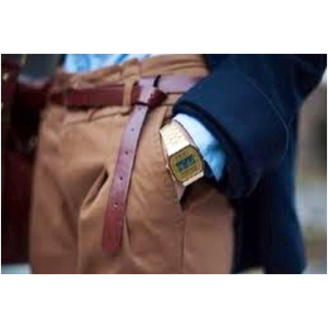 Fitted shirt and slick chinos finished off with a Casio watch for women.  -Fierce.Colors Combos, Men Style, Men Accessories, Inspiration Boards, Men Fashion, Fashion Trends, Casio Watches, Leather, Belts