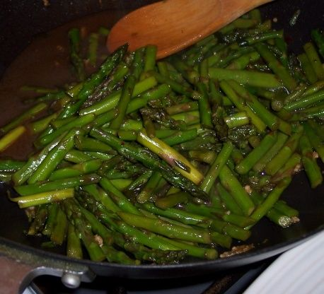 The asparagus should still be crunchy when you serve them. If you use very thin asparagus cut the cooking time back. You can also use this recipe for broccoli