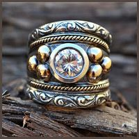 Rustic gold silver ring - Fia Fourie Juwele