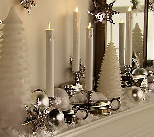 Love flameless candles with timers on my holiday mantle..stress free