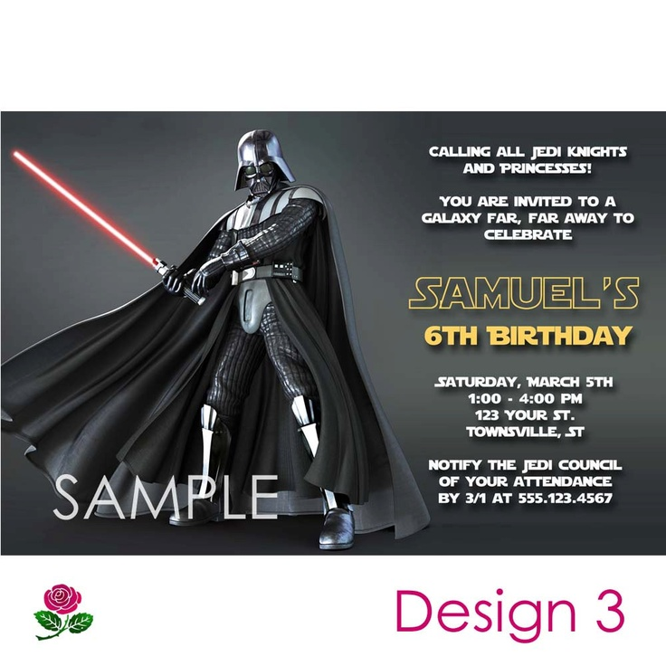 Star Wars Invitation Printable Birthday Party By MaddieRoseDesignz