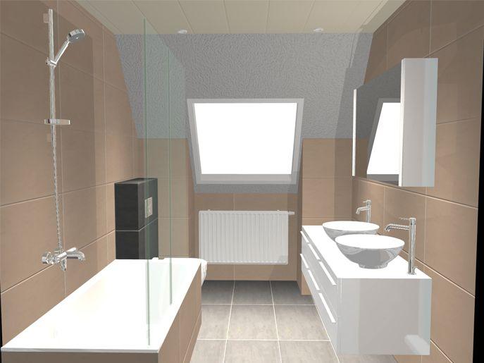 Indeling schuin badkamer - Kleine badkamer met douche al italiaanse ...