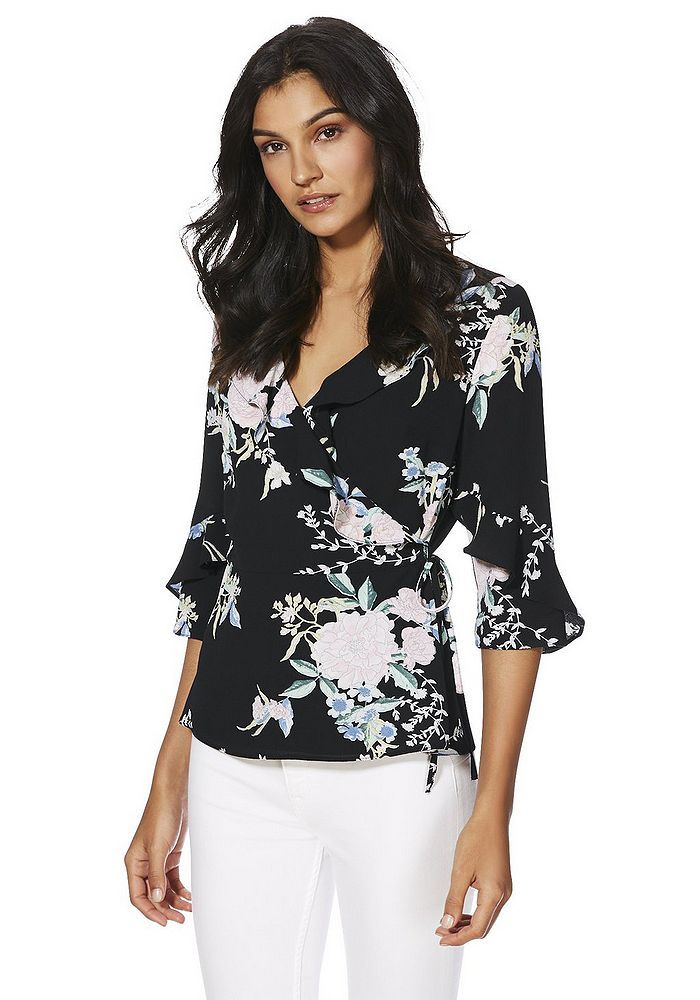 Tesco direct: F&F Floral Print Wrap Top | Fashion outfits
