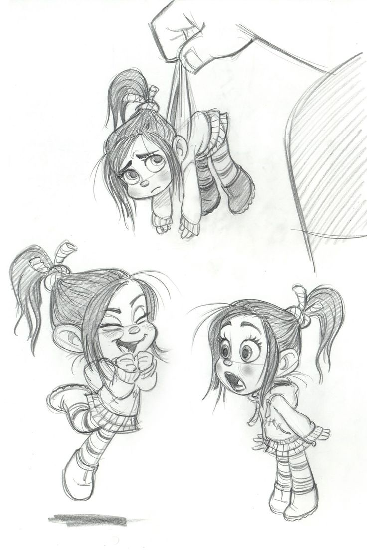 "Concept art of Vanellope von Schweetz by Glen Keane from Disney's ""Wreck-It-Ralph"" (2012)."