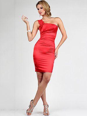 Sheath/Column One Shoulder Elastic Woven Satin Short/Mini Sleeveless Pleats Cocktail Dresses at Msdressy