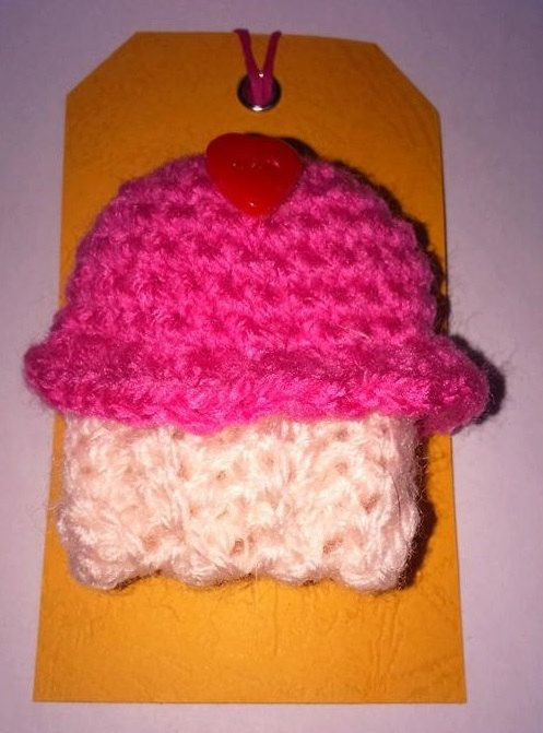 hand crochet cute cupcake brooch by BickersCrochetCuties on Etsy