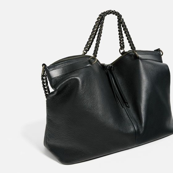 Image 2 of LEATHER BOWLING BAG WITH CHAIN HANDLES from Zara