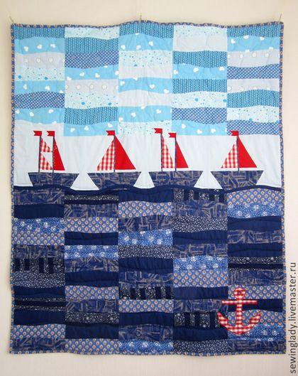 Детское одеяло на морскую тематику. - одеяло пэчворк,детское лоскутное одеяло