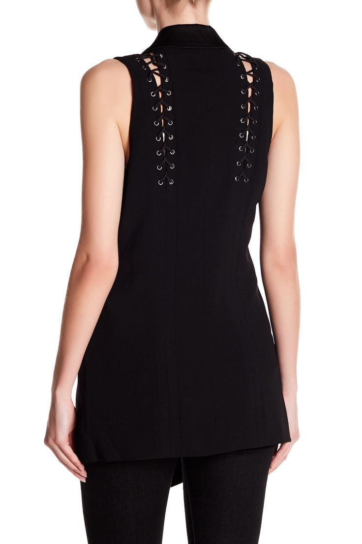 Haute Hippie - Lace Up Back Midi Length Vest is now 64% off. Free Shipping on orders over $100.