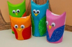 I love owls!  These are made from Toilet paper rolls.