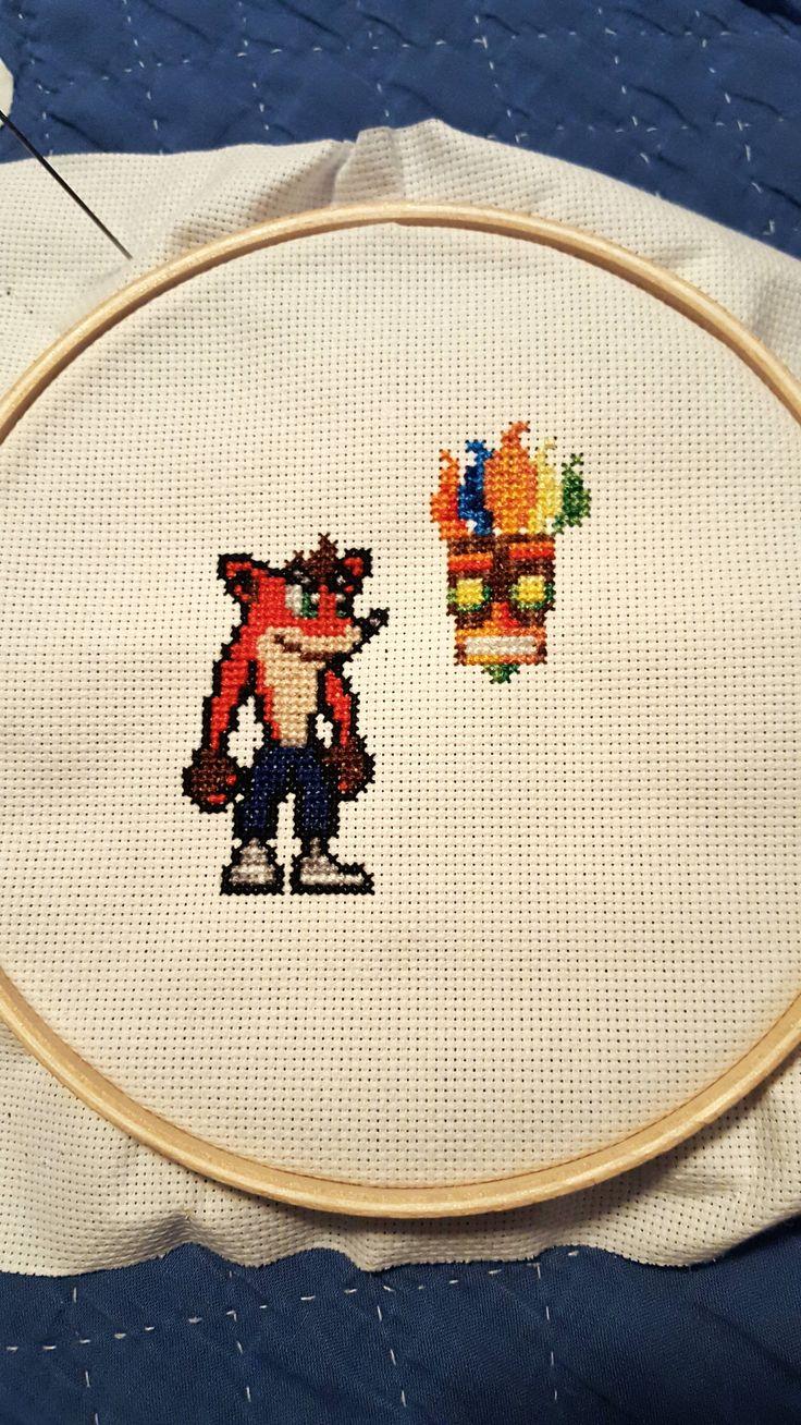 Crash Bandicoot cross stitch