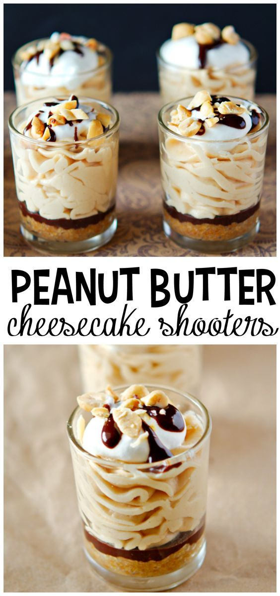 No bake peanut butter cheesecake shooters...these are devine for dessert!