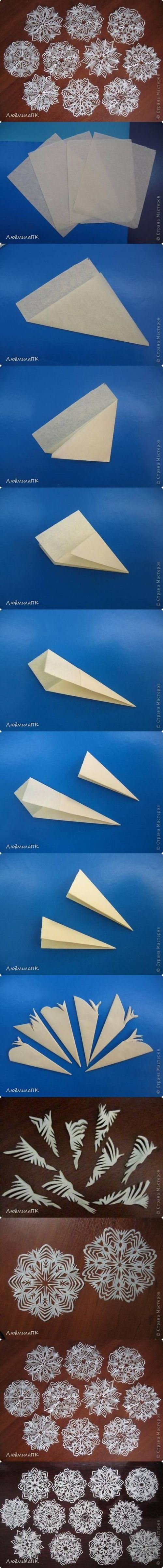 How to make Paper Snowflake Method step by step DIY tutorial instructions / How To Instructions