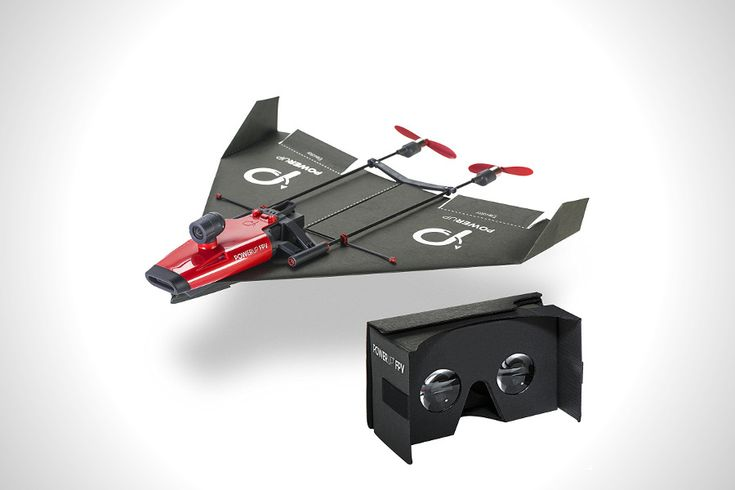 PowerUp Paper Airplane VR Drone lets you experience flight as if you were sitting in the cockpit. Using included Google cardboard viewer you see what your plane sees and control it by simply tilting your head to the direction you want it to fly. It has a over 90 meters wireless video streaming range, reaches speeds of up to 32 kmh, and can flight for 10 minutes on a full charge. It is compatible with both iOS and Android smartphones.