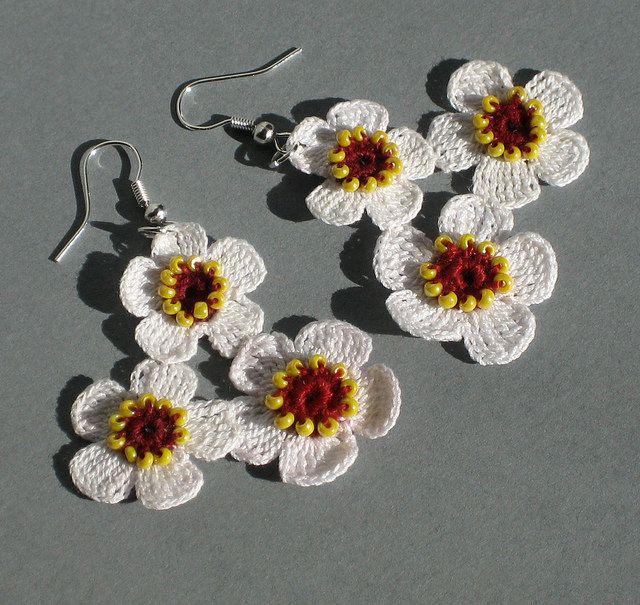 Cherry blossom crochet earrings