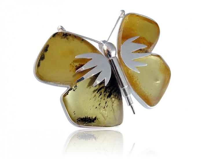 Silver art - handmade brooch with amber