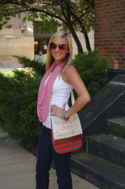 Look Book - Kreative Fibers By KR designs Add spunk to your campus outfits with a infinity scarf and reclaimed vintage bank deposit crossover bag!! Oh don't forget the arm candy!!!!