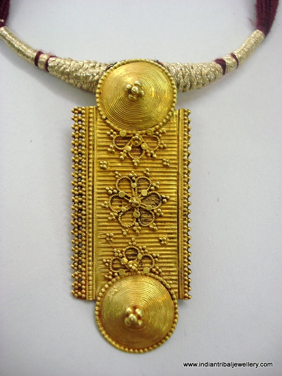Vintage tribal 20K yellow gold pendant necklace form Rajasthan India restrung in a traditional style. |  Mukesh Jain Designs