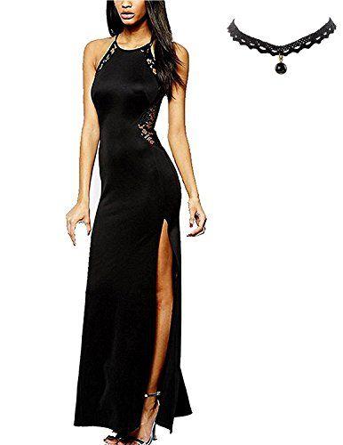 M-Queen Donna Vestito Lunghi Elegante Slim Spacco Senza Maniche Maxi  Bodycon Vestiti Cocktail Sera 0c9d2e82bc6