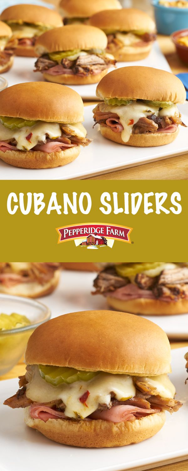 Pepperidge Farm Cubano Sliders Recipe. All the great flavors of a Cuban sandwich come to life in these  sliders. Soft slider buns are stacked high with ham, pork, cheese and pickles for a winning combination.  Party time or any time, these flavorful sliders will be a favorite at your table.