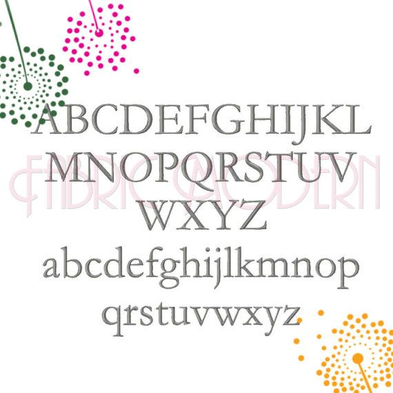Garamond FONT Embroidery Design sized for split by FabricModern