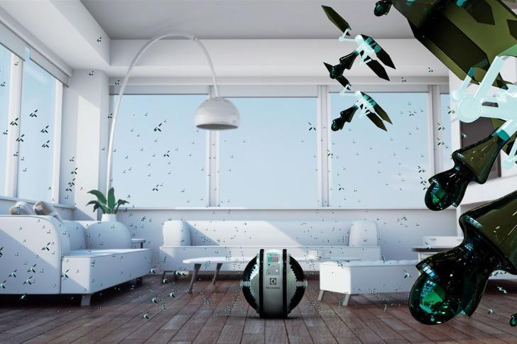 """En kugleformet robot triller hen over gulvet, og pludselig bliver dens overflade levende: 900 minidroner letter som en insektsværm og flyver ud i alle kroge af stuen for at gøre rent. Det er ideen bag Mab, vinderprojektet i Electrolux' """"Design Lab""""-konkurrence om udstyr til fremtidens hjem."""