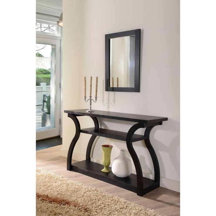 Overstock Foyer Bench : Furniture of america sara black finish console table by