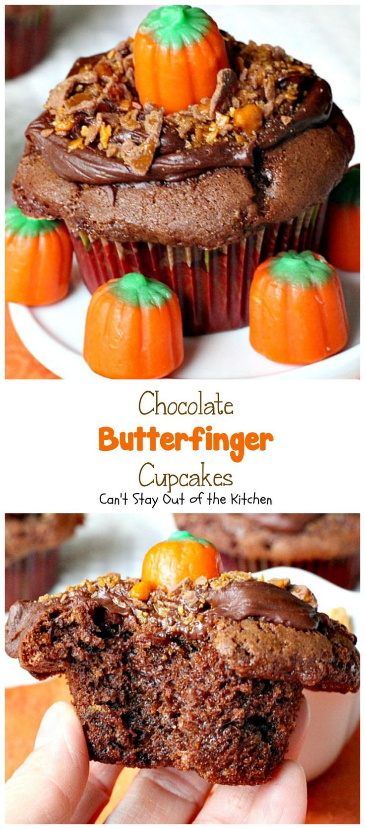 Chocolate Butterfinger Cupcakes | Can't Stay Out of the Kitchen | these…
