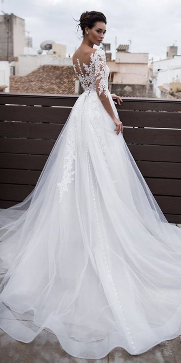 [189.00]  Marvelous Tüll & Organza Jewel Ausschnitt 2 in 1 Brautkleider mit abnehmbarem Rock & Spitze Applikationen & Beadings –