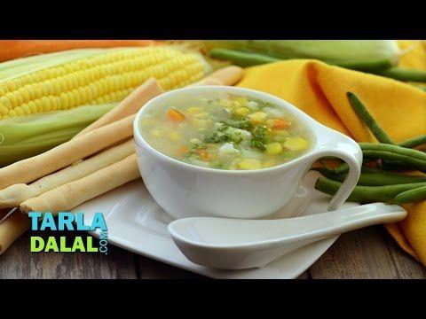 Sweet Corn and Vegetable Soup Video by Tarla Dalal | Hindi Recipe Video | Indian and International Cooking Videos | Tarladalal.com