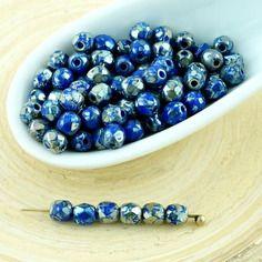 100pcs argent picasso bleu opaque ronde à facettes feu poli verre tchèque perles de petit écarteur 3mm