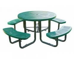"""46""""+Round+Perforated+Metal+Picnic+Table+w/seats+(T46RO*-Perf)"""