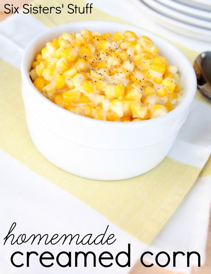 Homemade Creamed Corn from SixSistersStuff.com.  One of my family's favorite side dishes! #sixsistersstuff