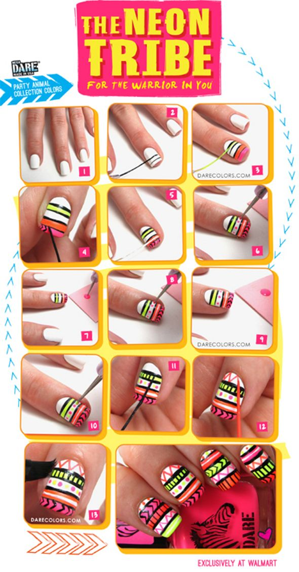 Neon Tribal Nails Tutorial