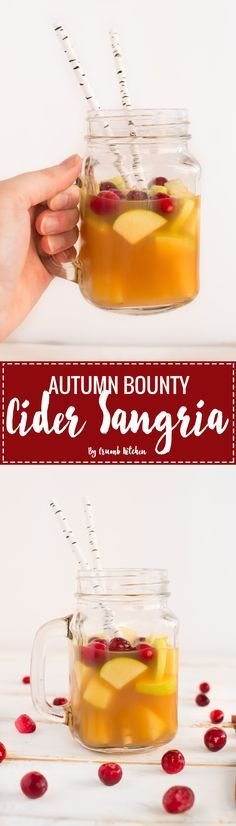 Fresh apples, pears, cranberries and spices fill this Autumn Bounty Cider Sangria with the best of Fall flavours.   Crumb Kitchen