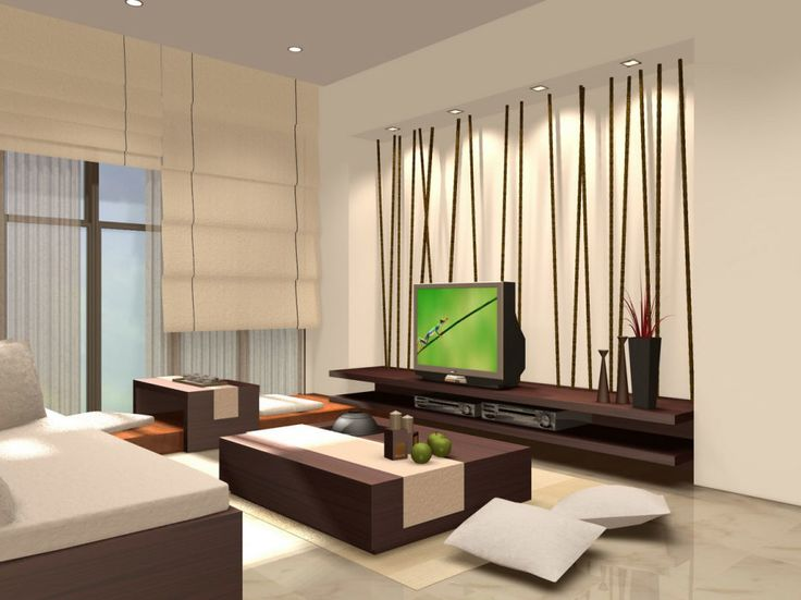 Splendid Interior Decorating Ideas For Small Living Rooms With Japanese Theme Furnitures Using Wooden Low Coffee Table And Sofas Design Also Hard Wooden TV Cabinet Attached On Decorative Wall As Well As Window With Cream Blinds Ideas. .