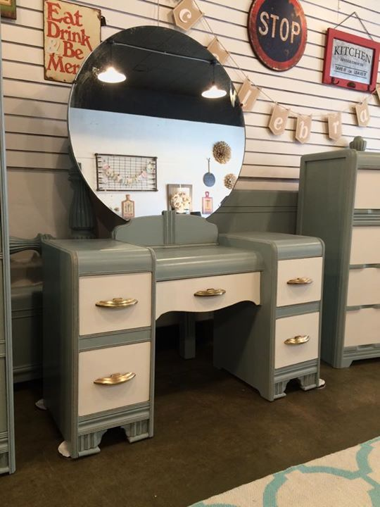 Waterfall vanity painted by The Distressed Gentleman with General Finishes milk paint Persian Blue.