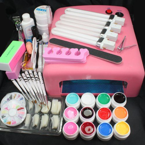 25 in 1 Professional Nail Art UV Gel Kit UV 36W 110V US Plug Pink Lamp Dryer Brush Buffer Tool Nail Tips Glue Super Set #23 Item# 4167  - Click image twice for more info - See larger selection nail brushes at http://www.zbestsellers.com/level.php?node=136title=nail-brushes - woman, woman fashion, nail, nail art, nail design, nail accessories, gift ideas.