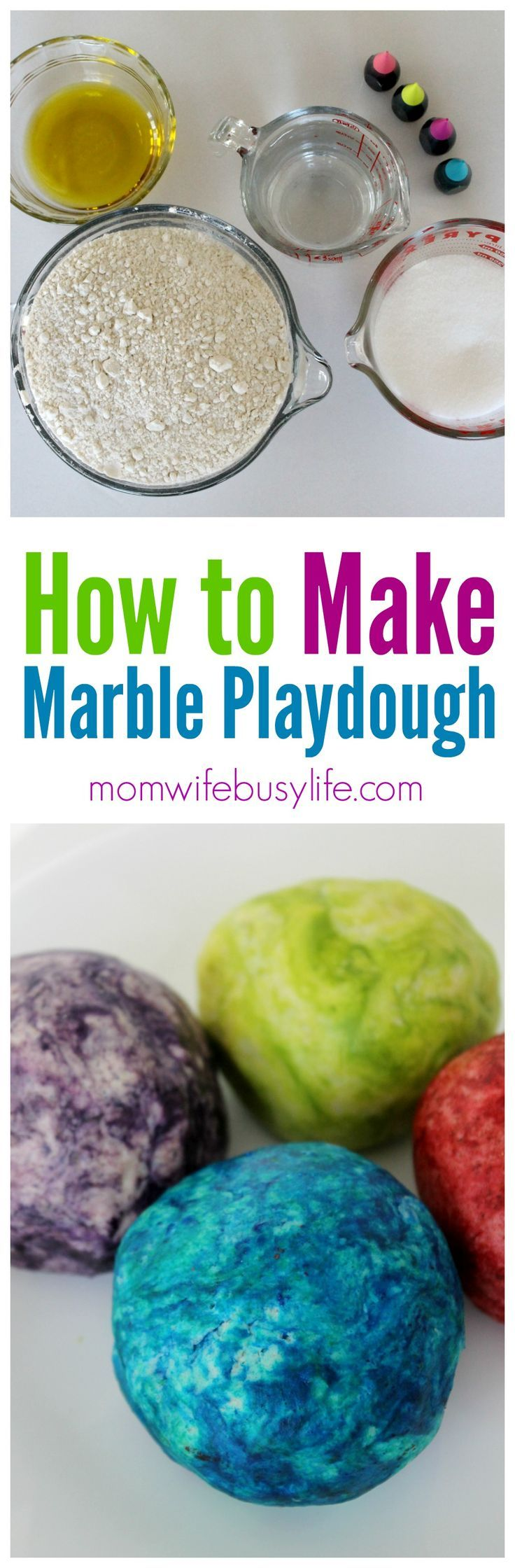 Marble Playdough Activity for Kids | DIY Playdough with Flour and Food Coloring | Make Your Own Playdough