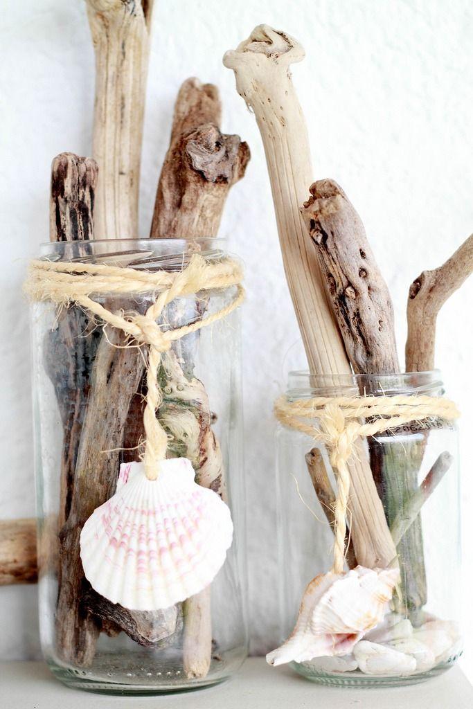 bocaux coquillage et corde