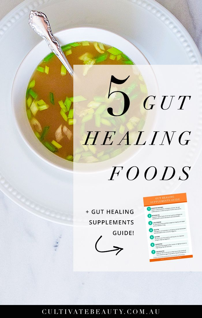 How would you rate your gut health? If you've ever been super stressed, taken a round of antibiotics or spent time on a standard western diet, chances are your gut health is not at it's best! Click to read about the top 5 gut healing foods you can start eating now!