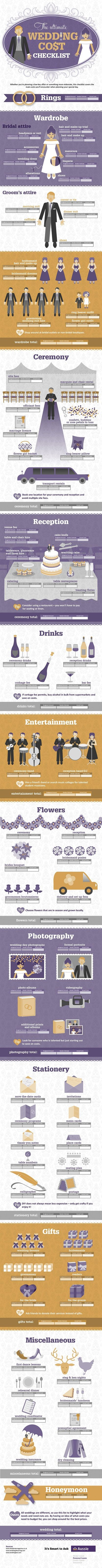 The Ultimate Wedding Cost Checklist Infographic - this thing is ridiculously detailed...