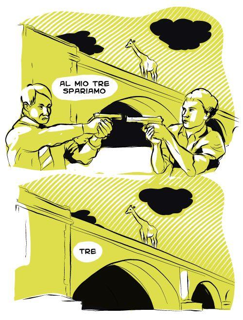Il fascino indiscreto dello stallo alla messicana #pistole #giraffa #mexico #stallo #stallo alla messicana #fascino #ponte #nuvole #graffiti #gun #duello #vignetta #vignette #comics #fumetto #fumetti #lol #illustration #giallo #nero #tensione #sparo #FirstSeason