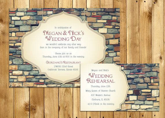 Colored Brick Old Time Style Wedding Rehearsal Invitations W Information Card 5x7 InvitationsLow Budget