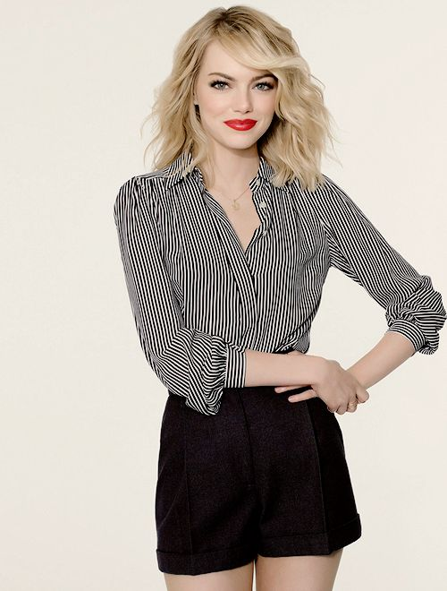 Black and white striped shirt and black shorts. Great summer outfit, Emma Stone!