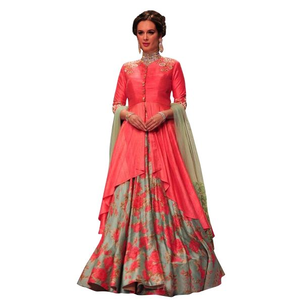 Buy Green Colour French Crepe With Digital Print Work Semi-Stitched Designer Lehenga Online at cheap prices from Shopkio.com: India`s best online shoping site