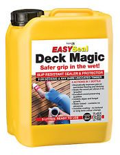 """EASYSeal Deck Magic - 5 Ltr (Ready to Use) Slip resistant decking sealer and protector - multiple actions in just 1 bottle. Improves grip on wet timber flooring and decking. Invisible coating that allows the timber to """"breathe"""" and safe and easy to apply."""